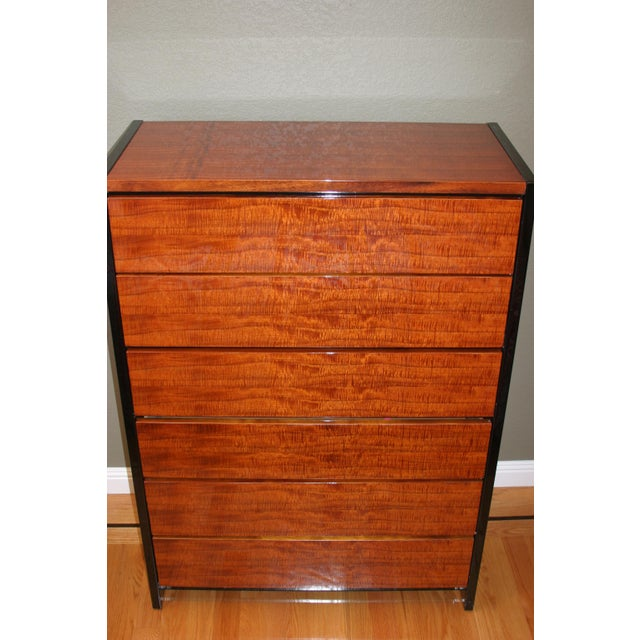 Henredon Black Lacquer & Koa Wood Dressers - A Pair For Sale - Image 5 of 11