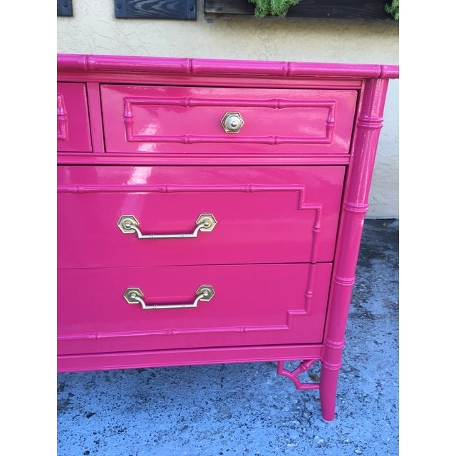 Asian Faux Bamboo High Gloss Pink Dresser For Sale - Image 3 of 7