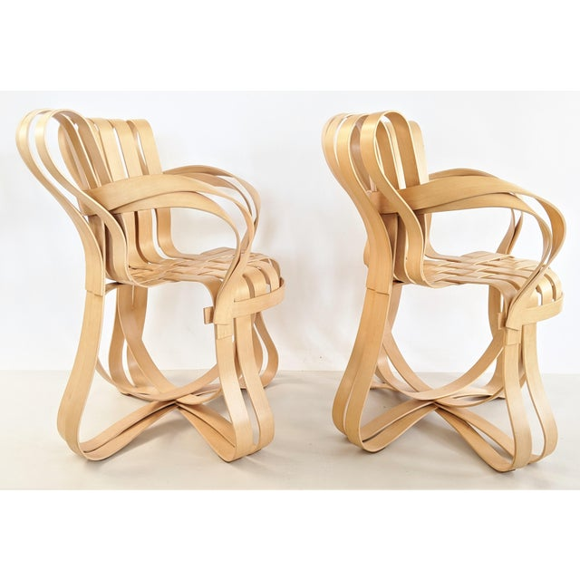 Boho Chic Frank Gehry for Knoll Cross Check Chair Maple Wood With Arms - a Pair For Sale - Image 3 of 13