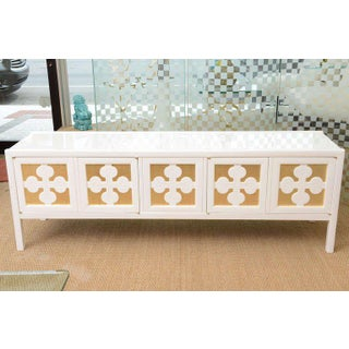 Mid-Century Modern White Lacquered and Gold Leaf Sideboard Cabinet Preview