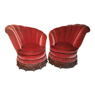 1930s Antique Art Deco Mohair Slipper Chairs - A Pair For Sale
