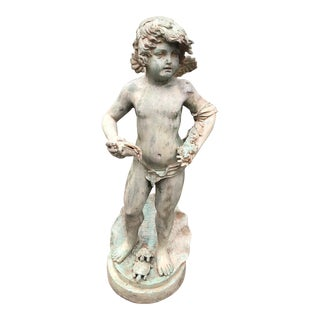 19th Century Art Nouveau Bronze Cherub Fountain