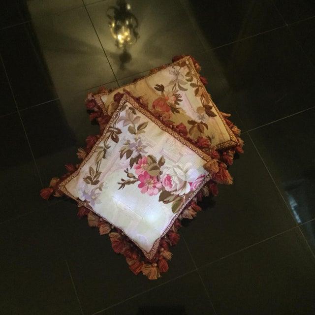 Aubusson Floral Decorative Pillows - A Pair - Image 3 of 5
