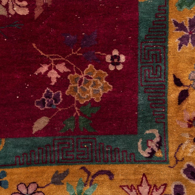Magenta Chinese Deco Carpet For Sale - Image 10 of 11