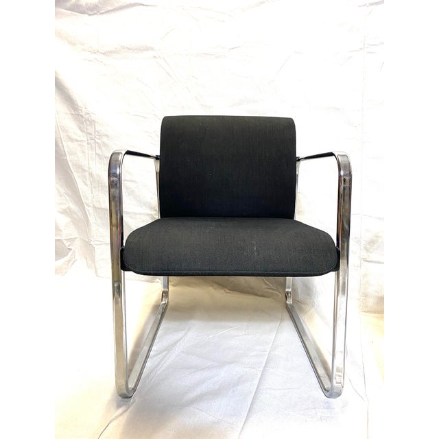 Marvelous Peter Protzman for Herman Miller Chrome Black Fabric Chairs - a Pair Typical condition for age. Cushions have no...