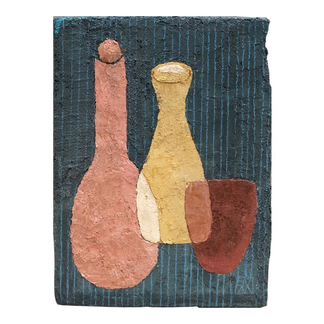 """Enni Contemporary Mixed Media Still Life """"Yellow Wine"""" For Sale"""