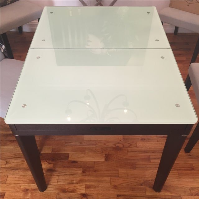 Mixed Media Glass and Wood Covertible Dining Table - Image 6 of 7