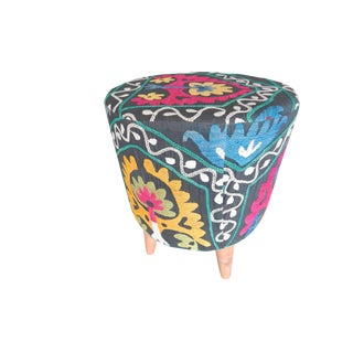 Round Contemporary Pouffe Made With Antique Suzani Fabric - Handmade Ottoman From Anatolian For Sale