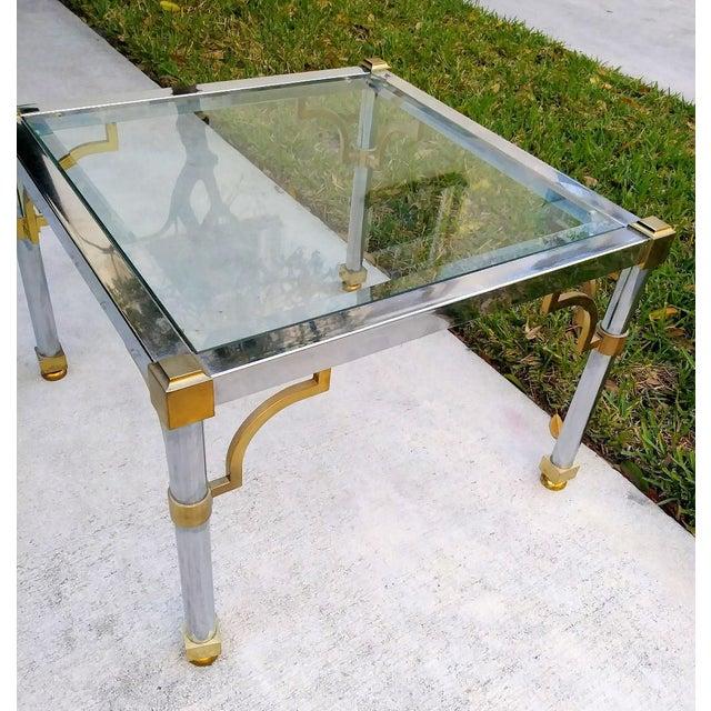 1960s Master Craft Vintage Brass Chrome Fret Work Corner Glass Top End Side Table For Sale - Image 5 of 6