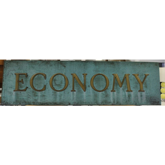 "A fascinating copper backed ""ECONOMY"" trade sign from the first half of the twentieth century, American. Great original..."