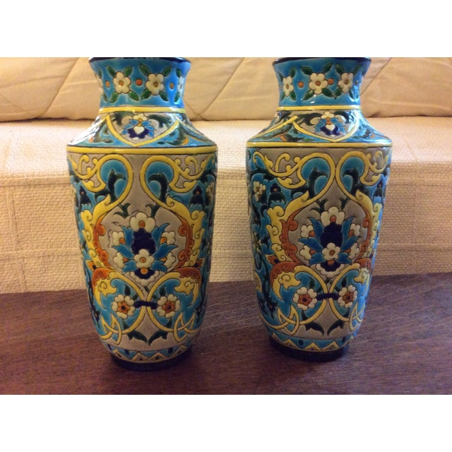 19th Century French Enameled Longwy Vases - a Pair For Sale - Image 9 of 12