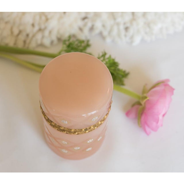 Antique French Pink Opaline Glass Tall Hinged Box - Image 4 of 7