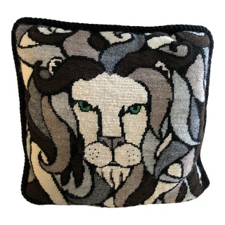 Hand Done 1970's Vintage Lion Needlepoint Pillow For Sale