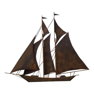 XL Curtis Jere Sailboat Metal Wall Art Sculpture For Sale