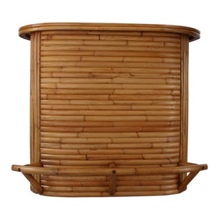 1950s Tiki-Style Stacked Rattan Bar 110a