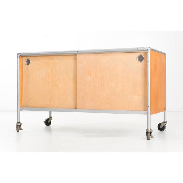 Henry P. Glass Storage Rolling Credenza For Sale - Image 5 of 11