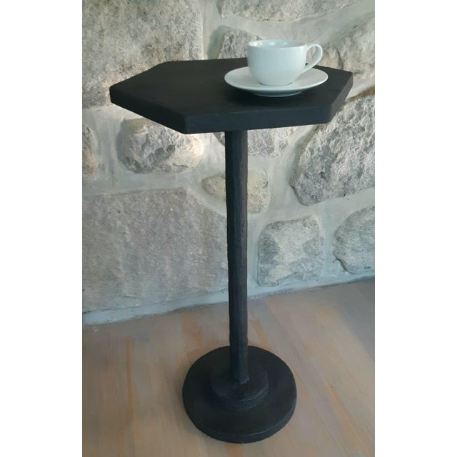 Contemporary Modern Artisan Small Accent Table Black For Sale - Image 3 of 5