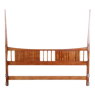 John Widdicomb Mid-Century Modern Sculpted Cherry Wood King Size Headboard For Sale