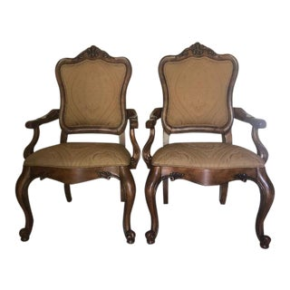 1990s Vintage Ethan Allen Tuscany Augustine Dining Room Armchair - a Pair For Sale