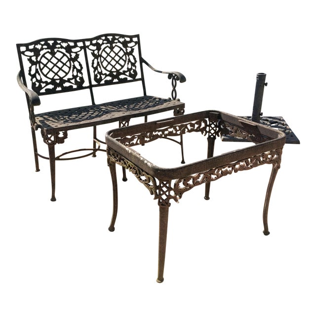 Cast Classics Cast Aluminum Settee & Table - A Pair - Image 1 of 11