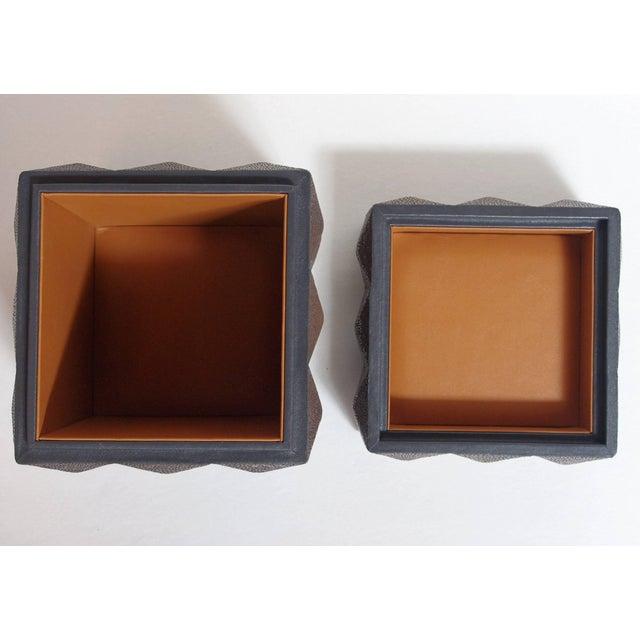 Animal Skin Pyramid Gray Shagreen Box by Fabio Ltd For Sale - Image 7 of 8