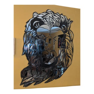 Mid 20th Century Custom Mirrored Lion Wall Art Mirror Sculpture For Sale