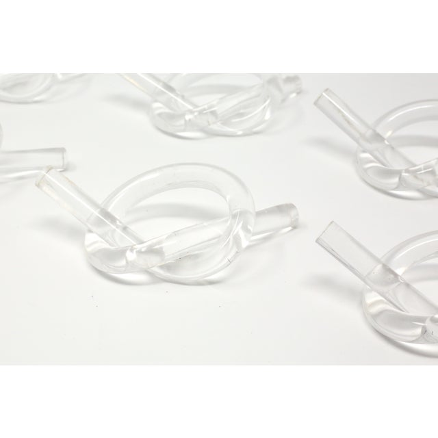 Contemporary Dorothy Thorpe Vintage Lucite Napkin Rings - Set of 6 For Sale - Image 3 of 9