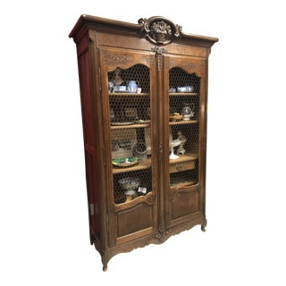 Antique 19th Century French Oak Wire Front Bibliotheque For Sale
