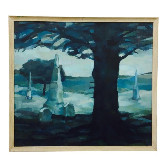 Vintage Original Blue Abstract Landscape in Frame - Image 1 of 7