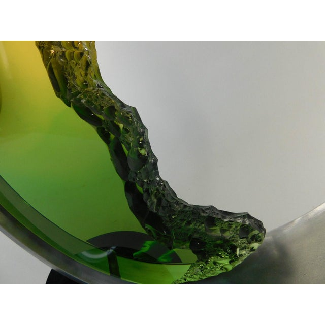 Green Michael George Lucite Kinetic Moon Sculpture For Sale - Image 8 of 11