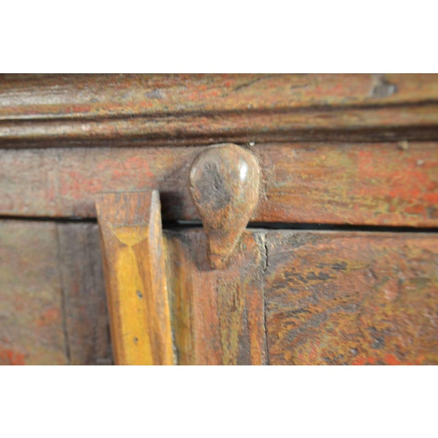 Late 18th Century Painted Wood Hanging Shelf With Glass Doors For Sale - Image 4 of 6