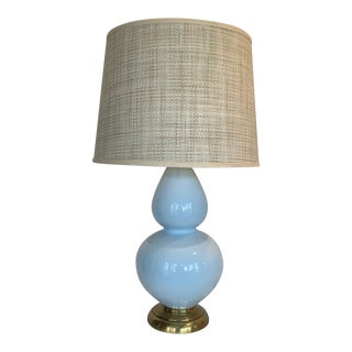 Pale Blue Double Gordon Lamp With Sea Grass Shade For Sale