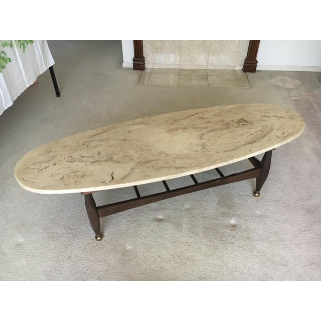 Mid-Century Marble Top Coffee Table - Image 5 of 8