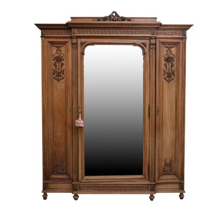 Grand Scale Antique Neoclassical Walnut Armoire For Sale
