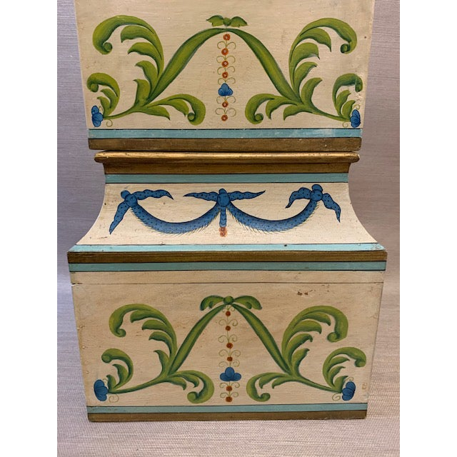 Metal Antique Italian Leaves and Swags Painted Boxes - Set of 3 For Sale - Image 7 of 11
