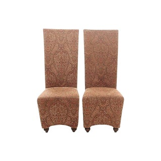 Regency Style Paisley Parson Chairs, Pair