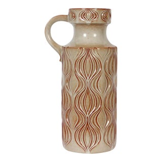 "A. Seide for Scheurich ""Fat Lava"" Incised Ceramic Two-Tone Jug Vase For Sale"