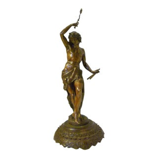 19th Century Mythological Pan or Dancer Bronze Sculpture on Carved Wood Base For Sale