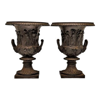 English 1880's Neoclassical Garden Urns Cast Iron- a Pair For Sale