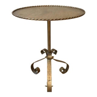 Gilt Metal Drinks Table on a Tripod Base For Sale