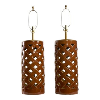 Pair of Lattice Form Ceramic Lamps For Sale