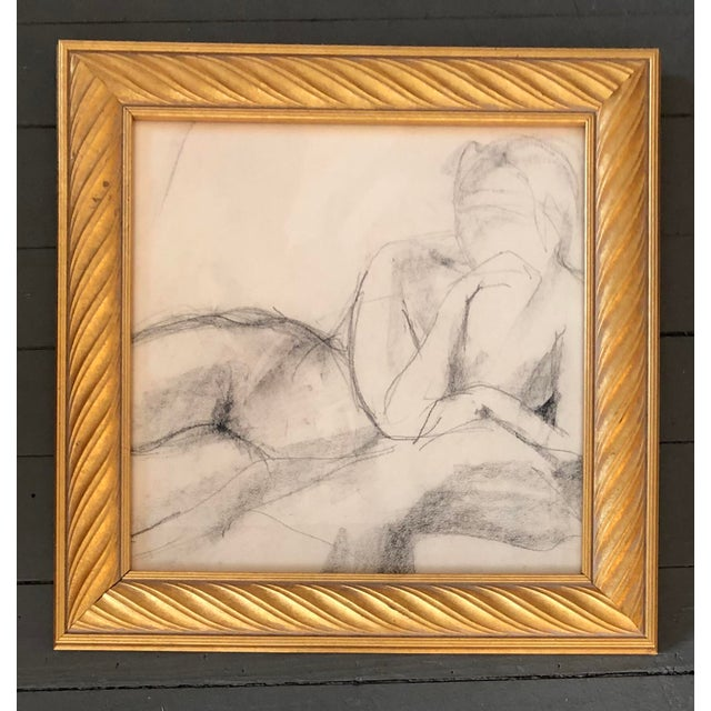 Original Vintage Female Nude Charcoal Study Drawing For Sale - Image 4 of 4