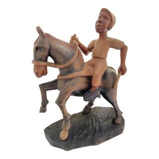 Mid 20th Century Folk Art Hand Carved Figural Steeplechase Horse & Jockey For Sale
