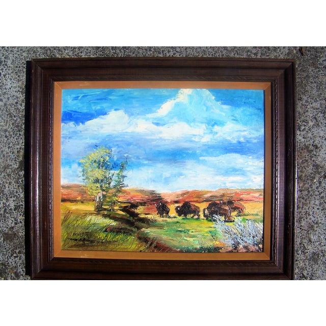 1965 Plein Air Buffalo Landscape Painting - Image 2 of 4