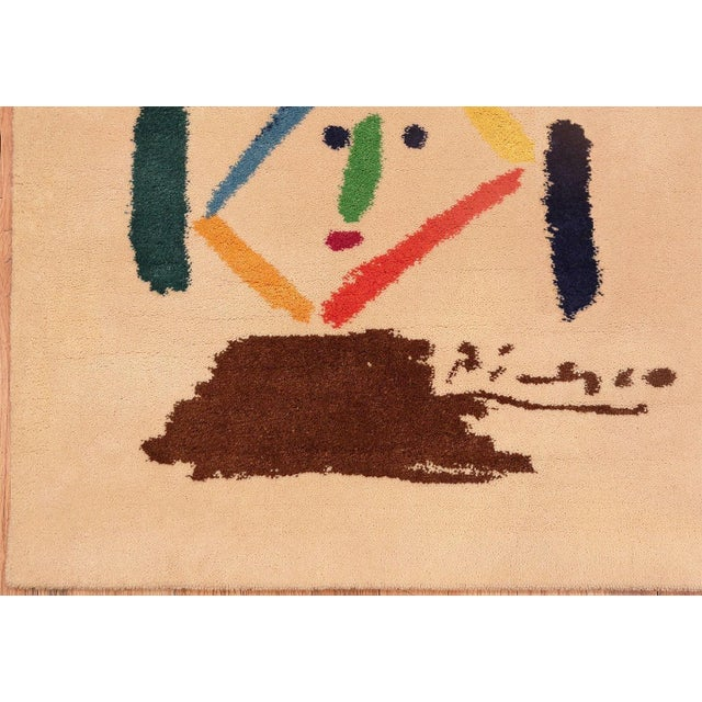 Mid 20th Century Square Vintage Picasso Art Rug For Sale - Image 5 of 7