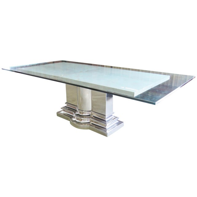 Brueton Column Base Glasstop & Marble Dining Table - Image 1 of 6