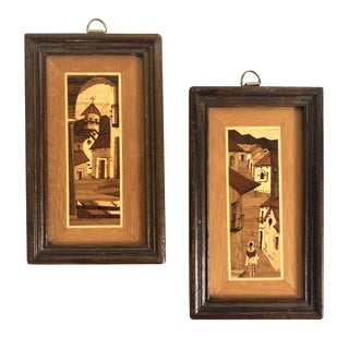 South American Village Marquetry Art - Set of 2