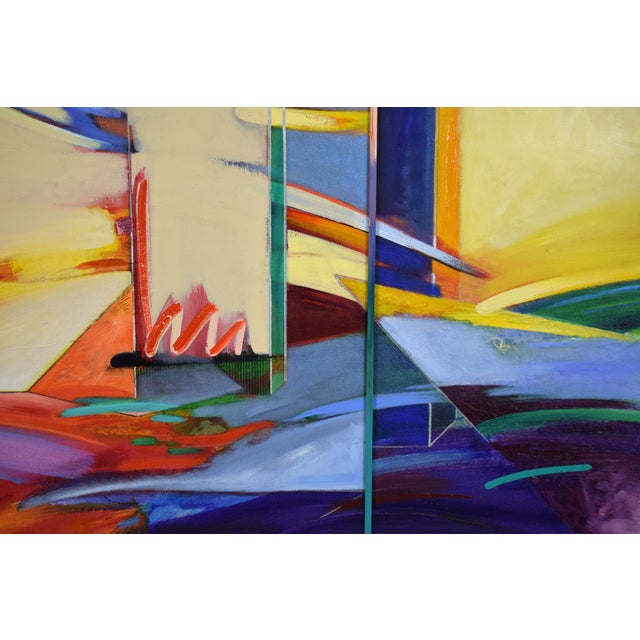 1990s 1990s Abstract Geometric Oil Painting For Sale - Image 5 of 11