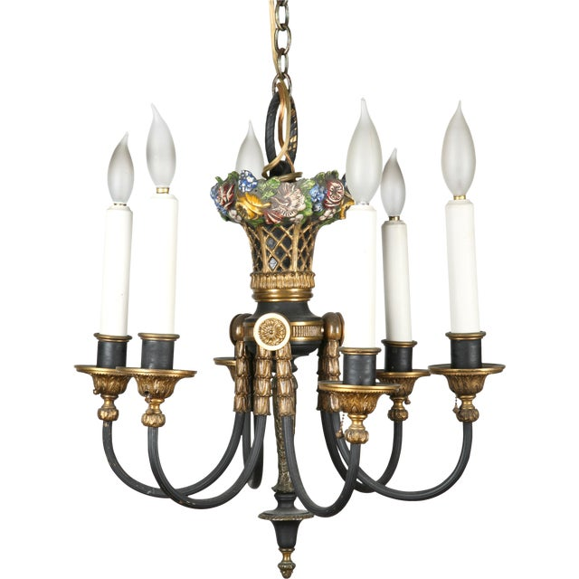 Antique 1930s French Bronze Chandelier For Sale