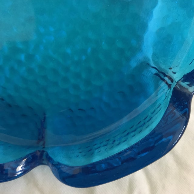 Turquoise Aqua Blue Pebbled Art Glass Flower Ashtray For Sale - Image 8 of 11